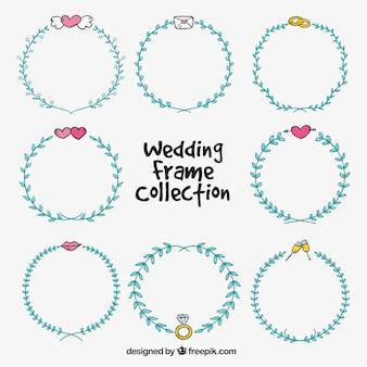Jogo de frames de casamento desenhados à mão azul
