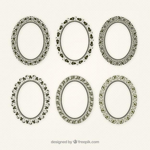 Jogo de frames ornamentais elipse