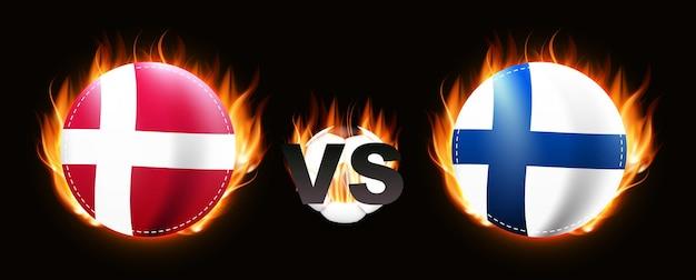 Jogo de futebol conceito championship 2020 rivalry 2021 dinamarca e finlândia
