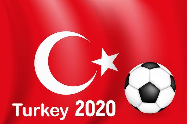 Jogo de futebol do campeonato da turquia com bandeira