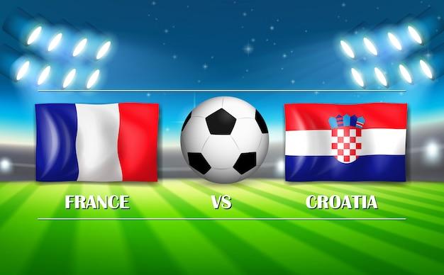 Jogo de futebol entre a frança e a croácia