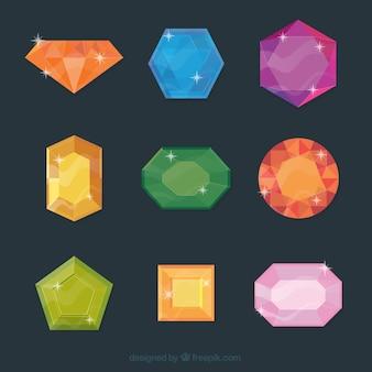 Jogo de gemas coloridas brilhantes