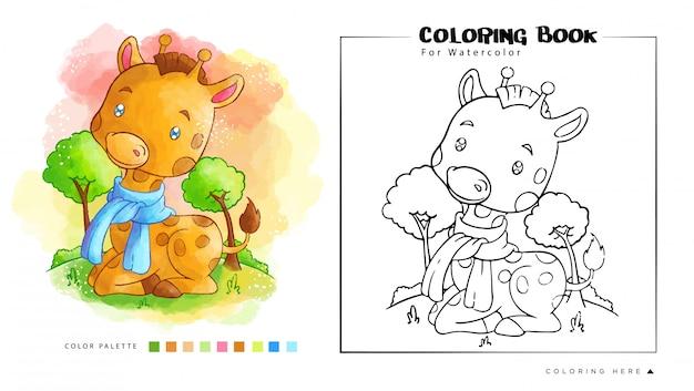 Jogo de guaxinim bonito com ilustração de pássaro dos desenhos animados para livro de colorir em aquarela