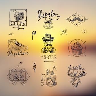 Jogo, de, hipster, emblemas