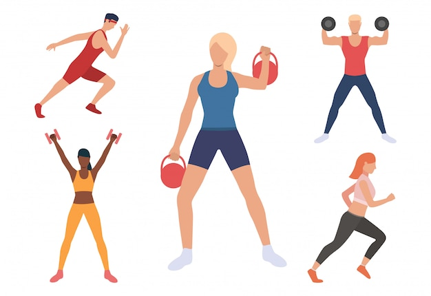 Jogo, de, homens mulheres, exercitar, em, ginásio