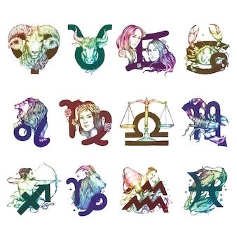 Jogo, de, horóscopo, símbolos, ilustração