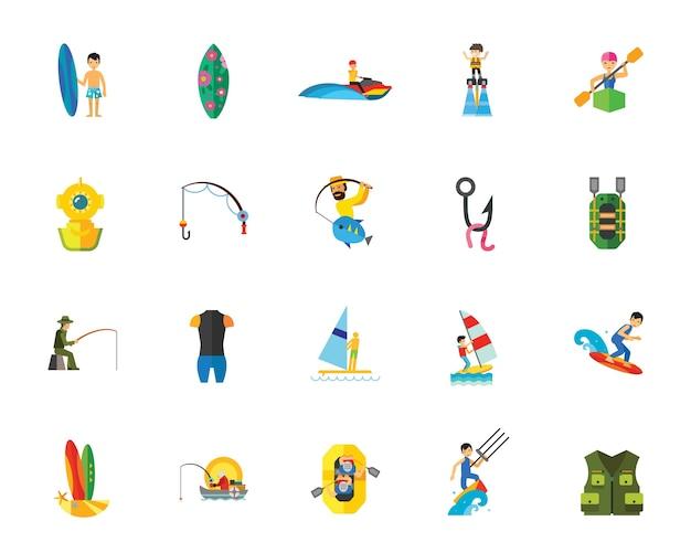 Jogo de ícones de atletas de esportes aquáticos
