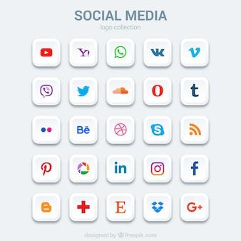 Jogo de ícones de mídia social