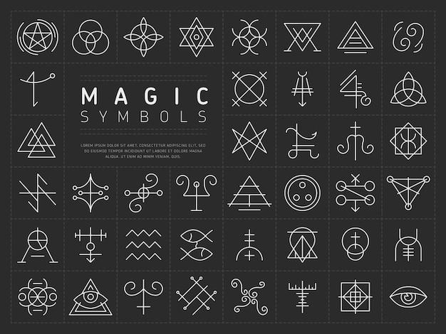 Jogo, de, ícones, para, magia, símbolos