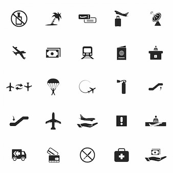 Jogo de ícones pretos do aeroporto