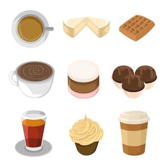 Jogo de ilustração de cafeteria de comida doce