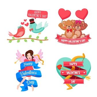 Jogo de ilustração do elemento do cartão do valentim feliz romântico