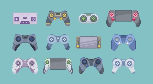 Jogo de joystick isolado no fundo branco. ícone de conjunto de desenhos animados de joystick. console de videogame.