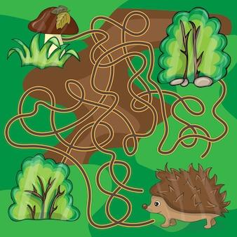 Jogo de labirinto ajude o ouriço a encontrar uma maneira de cogumelos - vetor