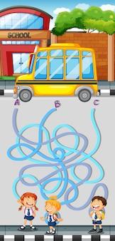 Jogo de labirinto com alunos e ônibus escolar Vetor Premium