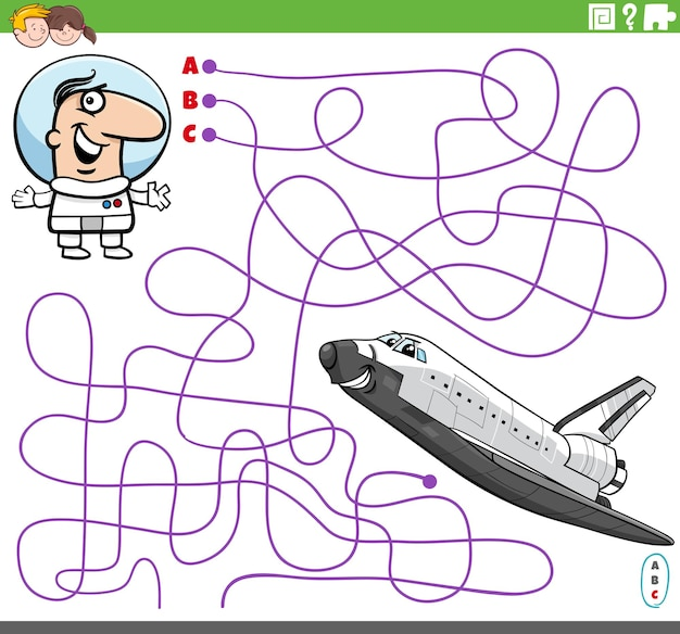 Jogo de labirinto com astronauta de desenho animado e ônibus espacial