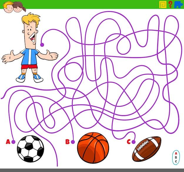 Jogo de labirinto com bolas de menino e esporte