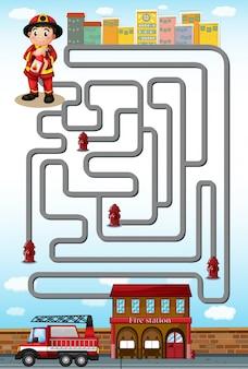 Jogo de labirinto com bombeiro e estação