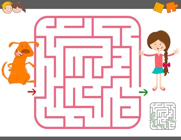 Jogo de labirinto com garota e cachorro