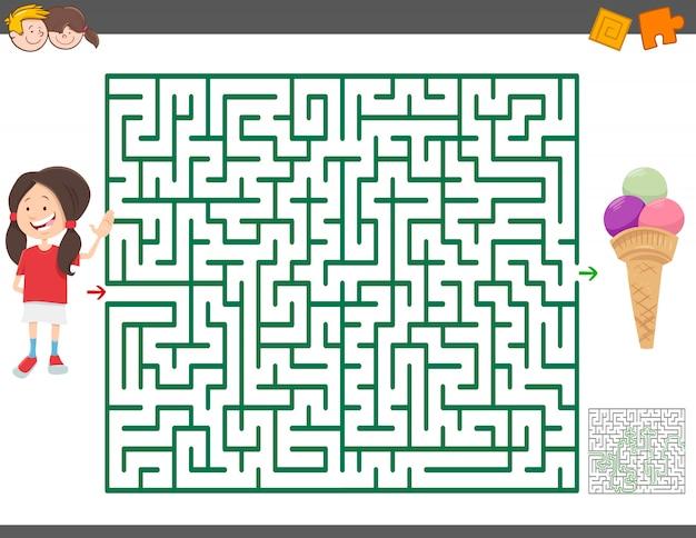 Jogo de labirinto com menina dos desenhos animados e sorvete
