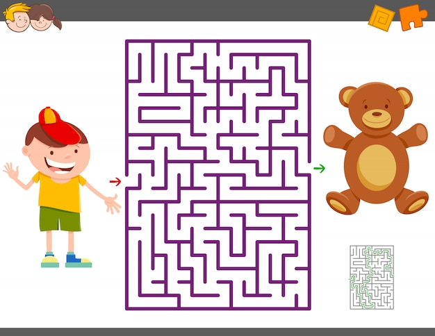 Jogo de labirinto com menino dos desenhos animados e urso de pelúcia