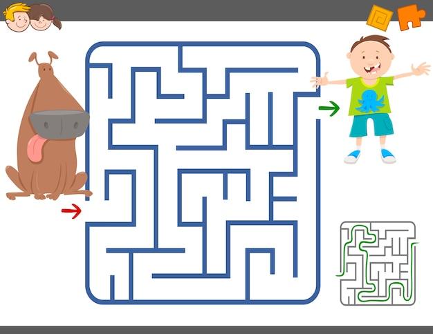 Jogo de labirinto com menino e cachorro