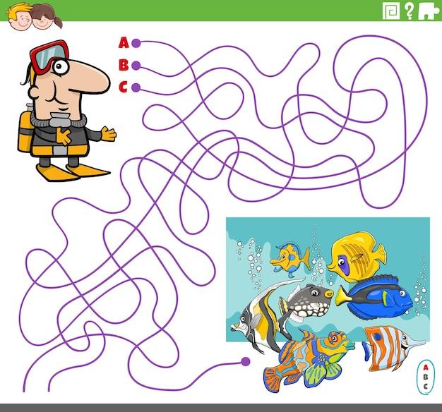 Jogo de labirinto com mergulhador de desenho animado e peixes tropicais