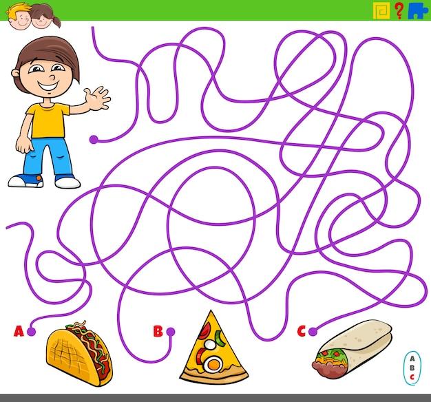Jogo de labirinto com objetos de menino e comida