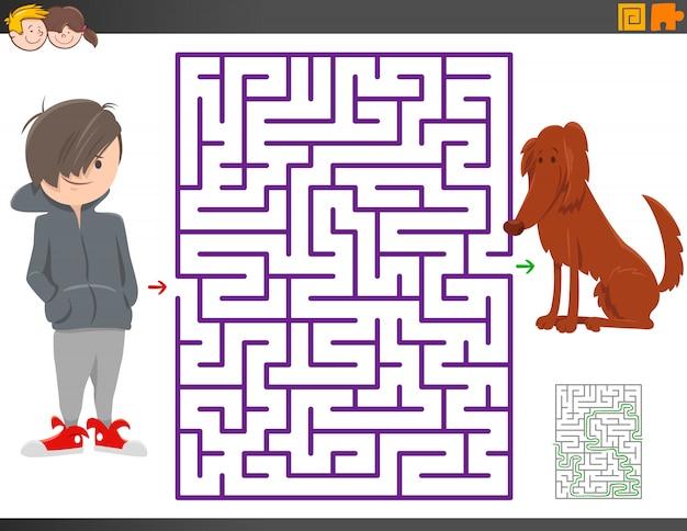 Jogo de labirinto com personagem de desenho animado menino e cachorro