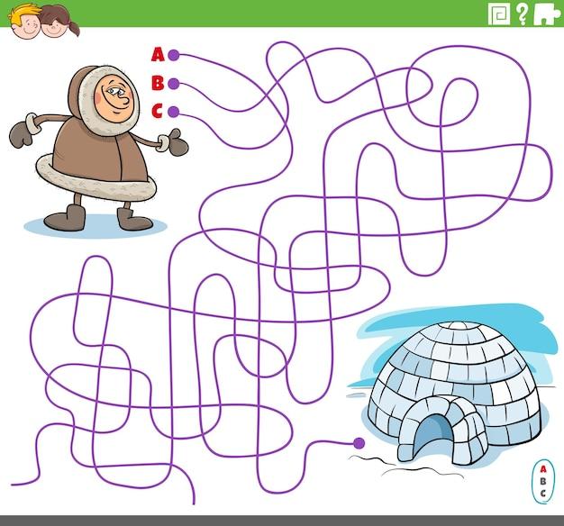 Jogo de labirinto com personagem esquimó de desenho animado e iglu