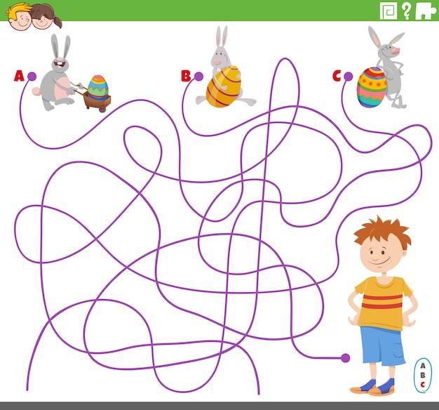 Jogo de labirinto com personagens de menino e coelhinhos da páscoa