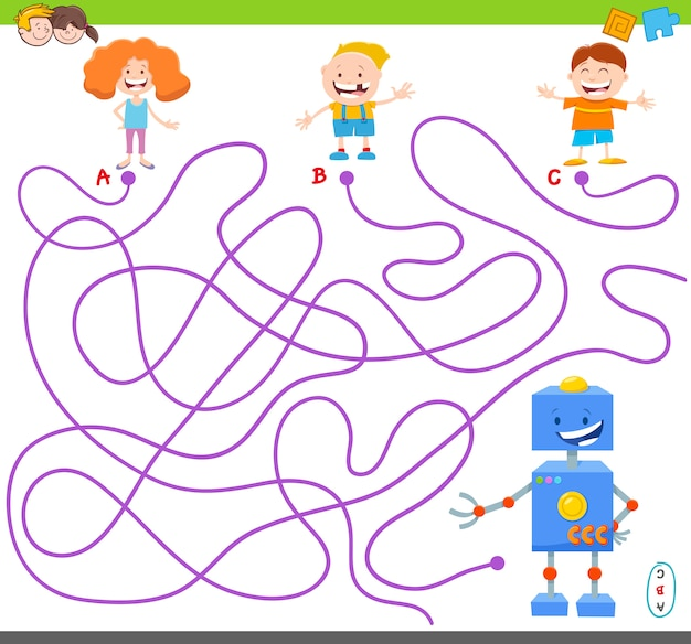 Jogo de labirinto com personagens engraçados de robô