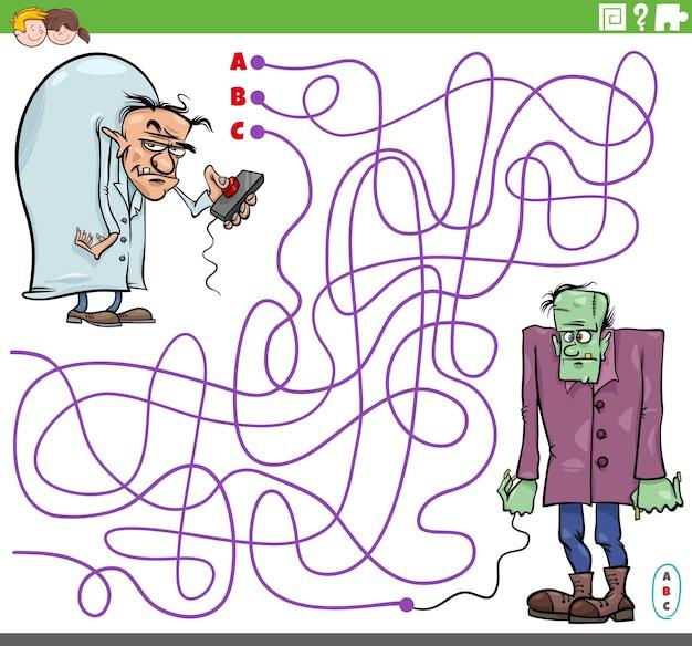 Jogo de labirinto com um cientista malvado de desenho animado e personagens zumbis