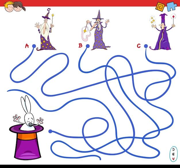 Jogo de labirinto de caminhos animados com feiticeiros