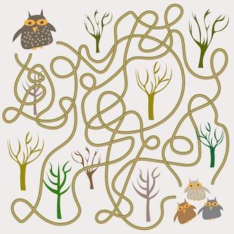 Jogo de labirinto de corujas engraçado para crianças pré-escolares. vetor