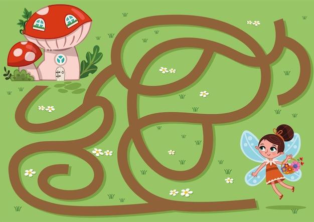 Jogo de labirinto de fadas para ilustração vetorial de crianças