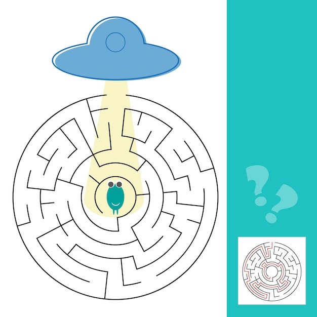 Jogo de labirinto de labirinto com solução. ajude o alienígena a encontrar o caminho para o ovni - ilustração vetorial