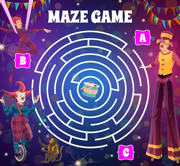 Jogo de labirinto de labirinto de circo redondo com palhaços.
