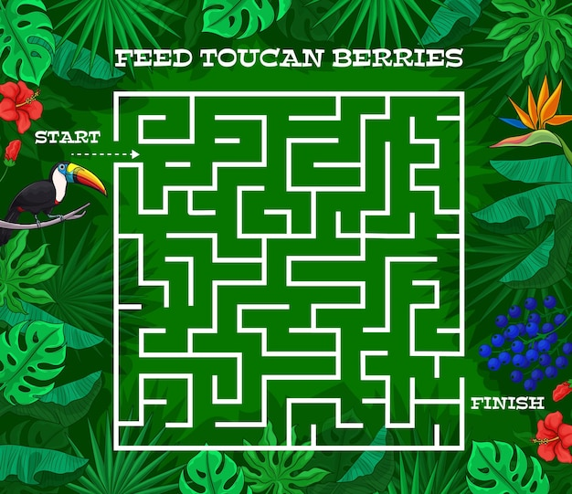Jogo de labirinto de labirinto de crianças, pássaro tucano dos desenhos animados nas folhas da selva, enigma de mesa do vetor. jogo de tabuleiro para crianças ou quebra-cabeça descubra o caminho, labirinto labirinto com tucano tropical em palmeiras da selva e flores tópicas