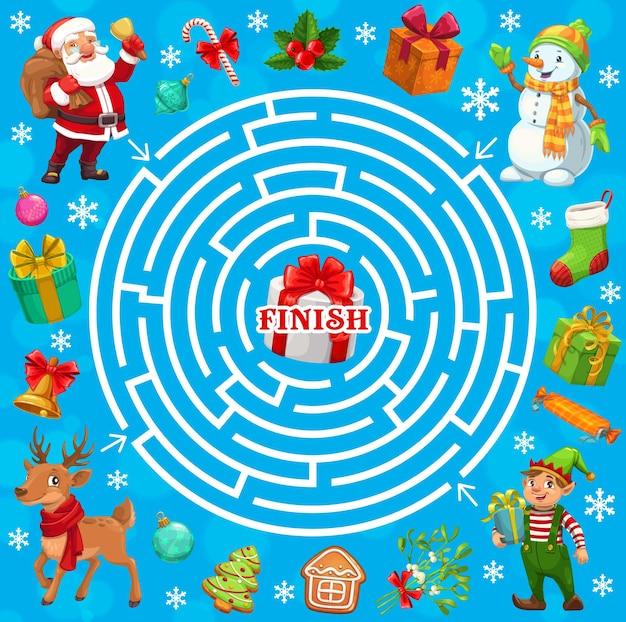 Jogo de labirinto de labirinto de férias de natal, papai noel, duende