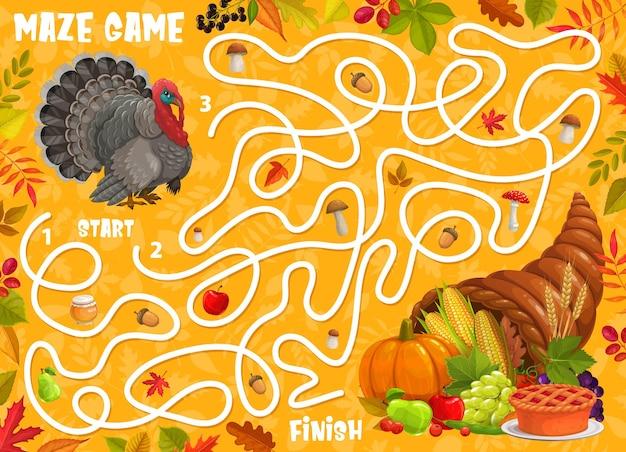 Jogo de labirinto de labirinto, peru de ação de graças, outono