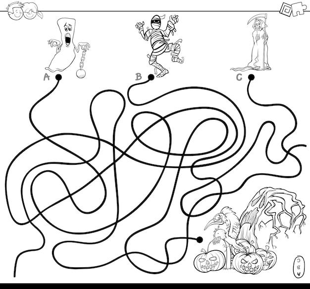 Jogo de labirinto de linhas com personagens de halloween coloring book