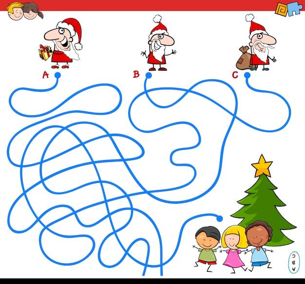 Jogo de labirinto de linhas com personagens de papai noel