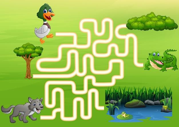 Jogo de labirinto de pato, lobo e crocodilo