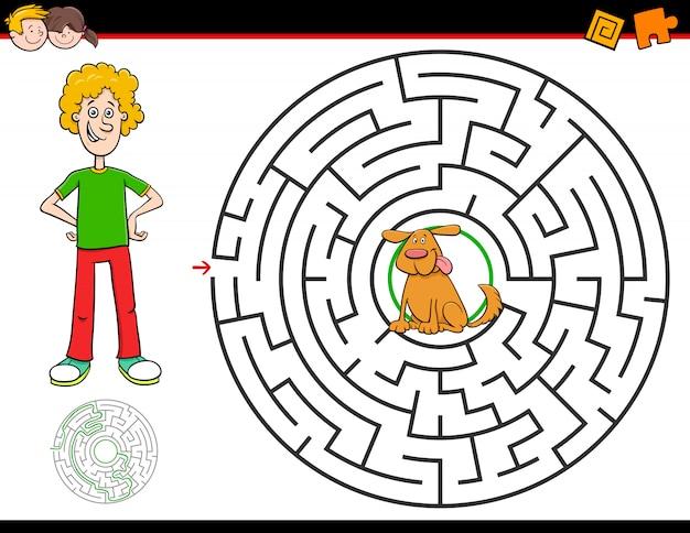 Jogo de labirinto dos desenhos animados com menino e cachorro