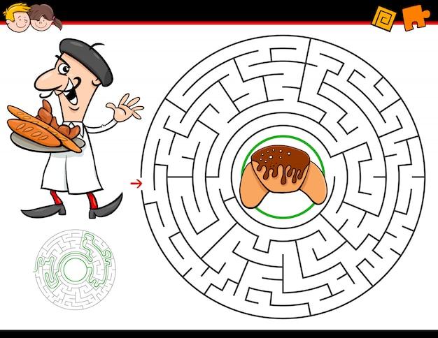 Jogo de labirinto dos desenhos animados com padeiro e croissant