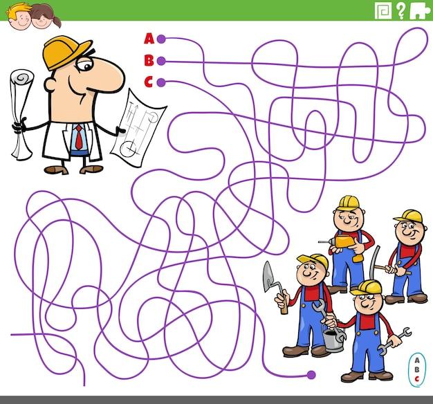 Jogo de labirinto educacional com arquiteto e construtores de desenhos animados