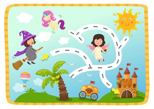 Jogo de labirinto educacional para crianças ilustração