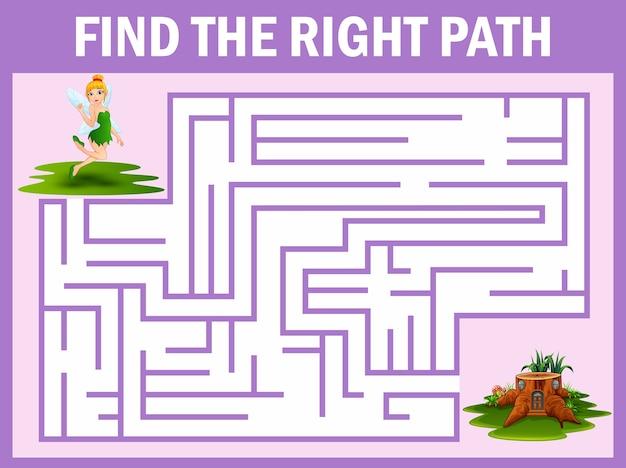 Jogo de labirinto encontra a fada voar para a casa
