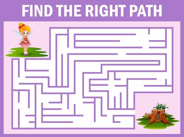 Jogo de labirinto encontra o caminho de fadas para o lar